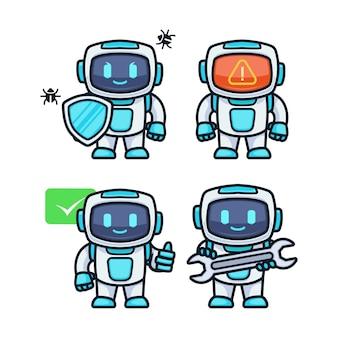 Modelo de ilustração de desenho de mascote de robô futurista fofo de tecnologia