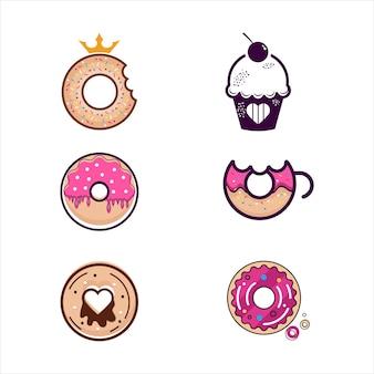 Modelo de ilustração de design de ícone de vetor de donut