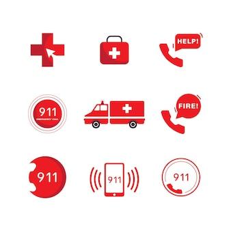 Modelo de ilustração de design de ícone de vetor de emergência 911