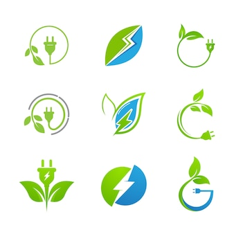 Modelo de ilustração de design de ícone de vetor de energia ecológica