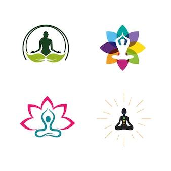 Modelo de ilustração de design de ícone de vetor de ioga