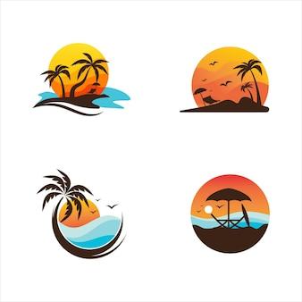 Modelo de ilustração de design de ícone de vetor de praia de verão