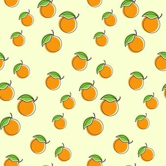 Modelo de ilustração de design sem costura de fruta laranja