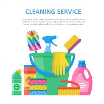 Modelo de ilustração de elementos de serviço de limpeza