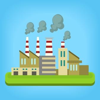Modelo de ilustração de fábrica moderna isolada plana dos desenhos animados