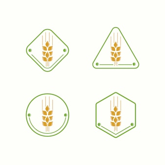 Modelo de ilustração de fazenda de logotipo de trigo