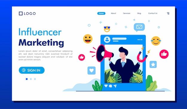 Modelo de ilustração de landing page de marketing de influenciador
