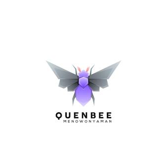Modelo de ilustração de logotipo colorido de abelha-rainha