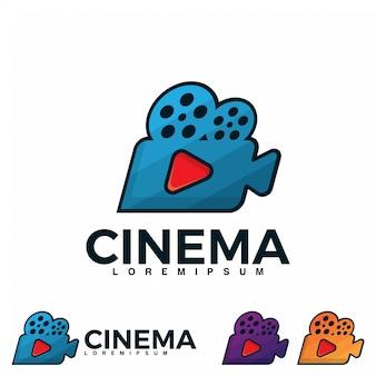 Modelo de ilustração de logotipo de cinema retrô