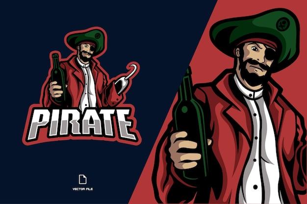 Modelo de ilustração de logotipo de mascote pirata
