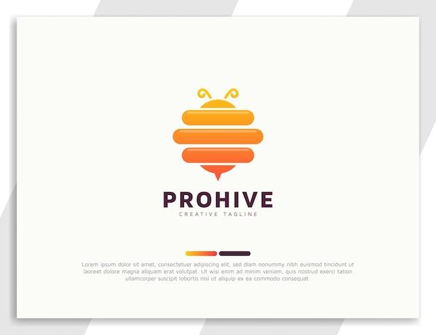 Modelo de ilustração de logotipo gradiente de colmeia de abelhas