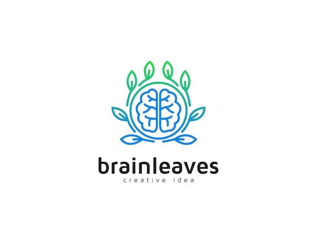 Modelo de ilustração de logotipo gradiente de folhas e cérebro