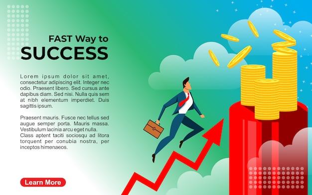Modelo de ilustração de maneira de sucesso de homem de negócios moderno