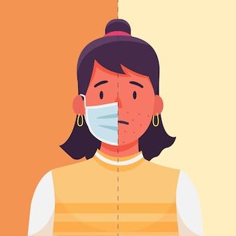 Modelo de ilustração de máscara facial