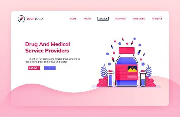 Modelo de ilustração de página de aterrissagem de prestadores de serviços de drogas e laboratório de pesquisa química para educação médica