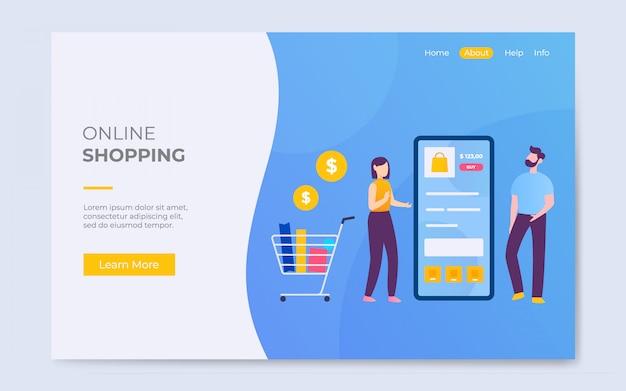 Modelo de ilustração de página de destino de compras on-line