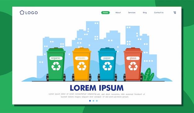 Modelo de ilustração de página de destino de gerenciamento de resíduos