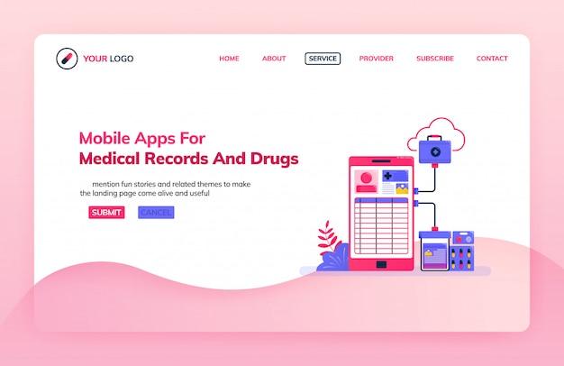 Modelo de ilustração de página inicial de aplicativos móveis para registros médicos e medicamentos.