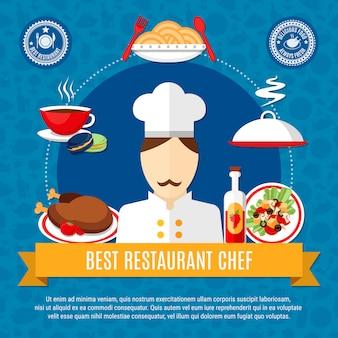 Modelo de ilustração de restaurante chef