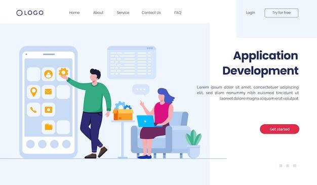Modelo de ilustração de site de página de destino de desenvolvimento de aplicativo