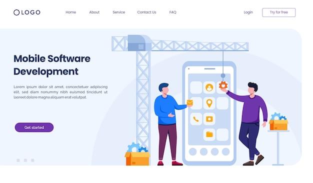 Modelo de ilustração de site de página de destino de desenvolvimento de software móvel