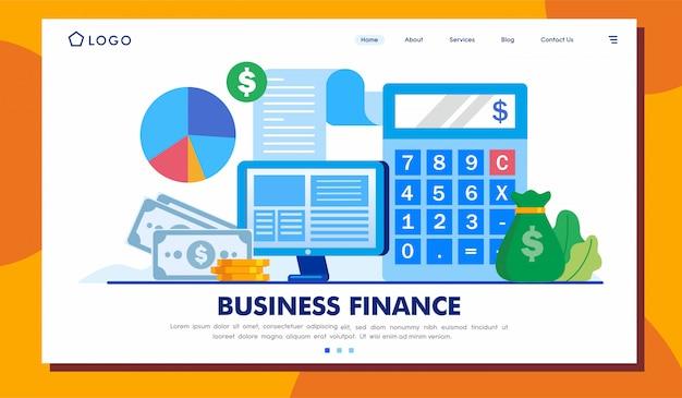 Modelo de ilustração de site de página de destino de finanças de negócios