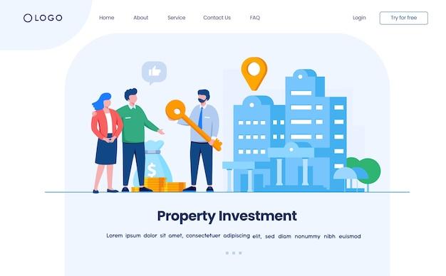 Modelo de ilustração de site de página de destino de investimento em propriedade