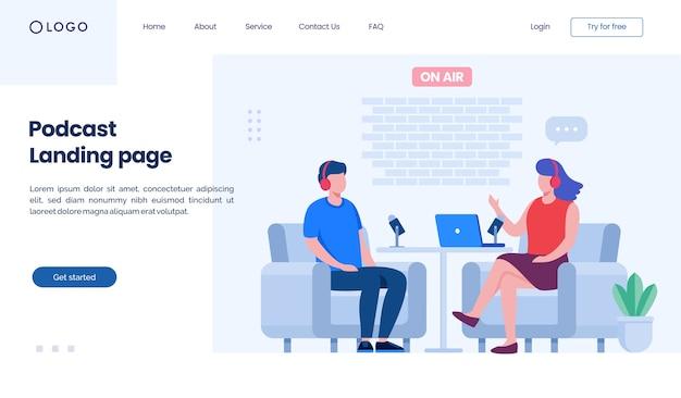 Modelo de ilustração de site de página de destino de podcast