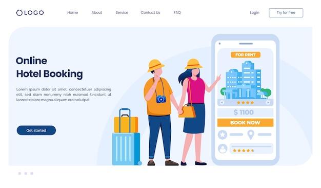 Modelo de ilustração de site de página de destino de reserva de hotel online