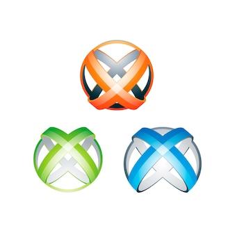 Modelo de ilustração do círculo cruz letra x logotipo
