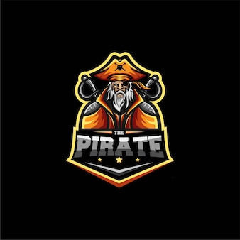 Modelo de ilustração do logotipo do old pirates esport