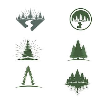 Modelo de ilustração do projeto do ícone do vetor da floresta