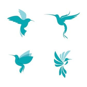 Modelo de ilustração do projeto do ícone do vetor do beija-flor