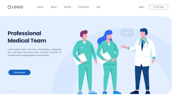 Modelo de ilustração do site da página de destino da equipe médica profissional