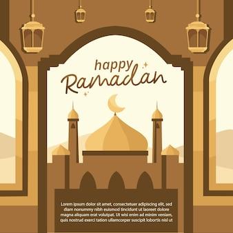 Modelo de ilustração feliz ramadã