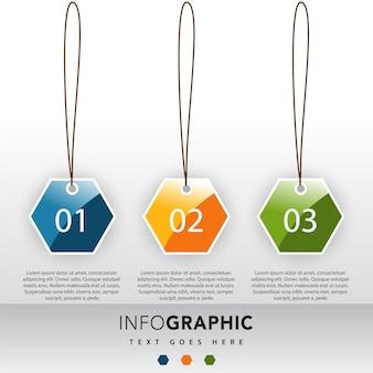 Modelo de ilustração infográfica de 3 números
