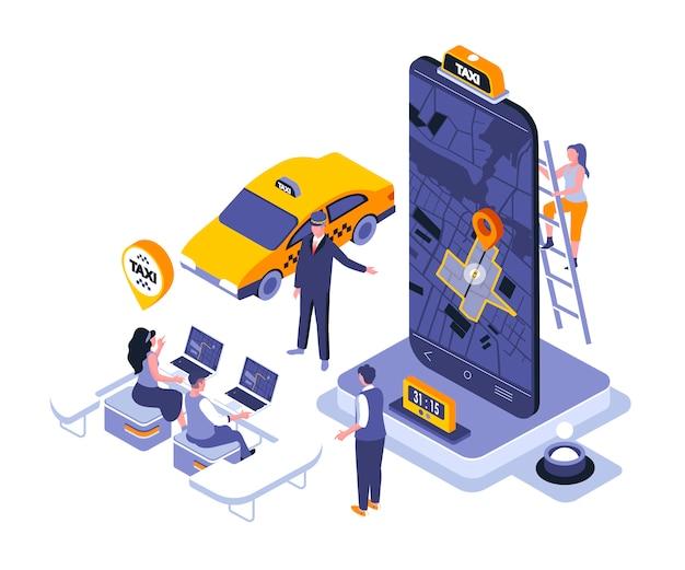 Modelo de ilustração isométrica de serviço de táxi