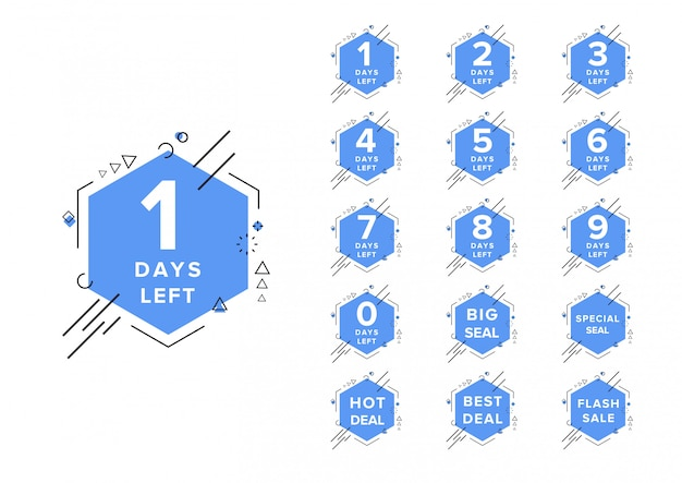 Modelo de ilustração vetorial contagem regressiva dias número à esquerda