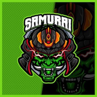 Modelo de ilustrações de design de logotipo de mascote de cabeça de samurai oni esport, estilo de desenho animado do diabo ninja