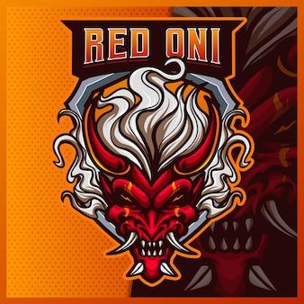 Modelo de ilustrações de design de logotipo do mascote devil oni e logotipo samurai para jogo de equipe