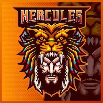 Modelo de ilustrações de design de logotipo do mascote hercules e logotipo do lion para jogo de equipe