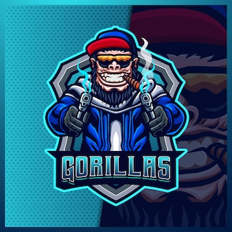 Modelo de ilustrações de design de logotipo gorilla macacos cowboy mascote esport, logotipo gorilla shooter