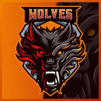 Modelo de ilustrações de design de logotipo wolf mascote esport