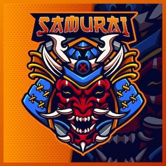 Modelo de ilustrações de design do logotipo da mascote samurai oni e logotipo devil ninja para jogo em equipe