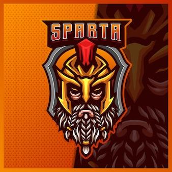 Modelo de ilustrações de design do logotipo da mascote spartan gladiator warrior mascote esport, logotipo de roman knight