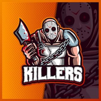 Modelo de ilustrações de design do logotipo do assassino com machado mascote esport, logotipo hallowen