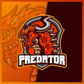 Modelo de ilustrações de design do logotipo do mascote do monstro kaiju e estilo de desenho animado chifre de monstro