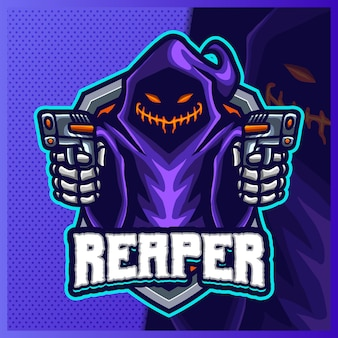 Modelo de ilustrações de design do logotipo do mascote do shooter grim reaper hood e logotipo do devil shooter para jogo de equipe