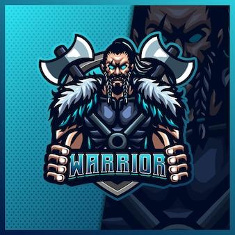 Modelo de ilustrações de design do logotipo do mascote viking gladiator warrior mascote esport