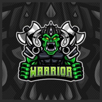 Modelo de ilustrações de design do logotipo do orc viking gladiator warrior mascote esport, estilo desenho animado